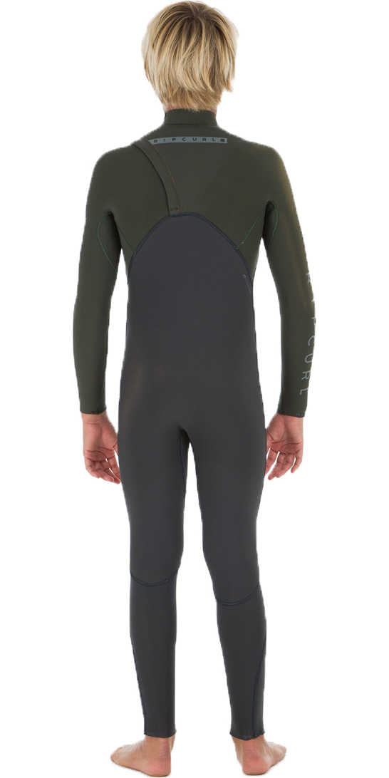 2019 Rip Curl Junior Flashbomb 3/2mm Zip Free Wetsuit KHAKI WSM8OB