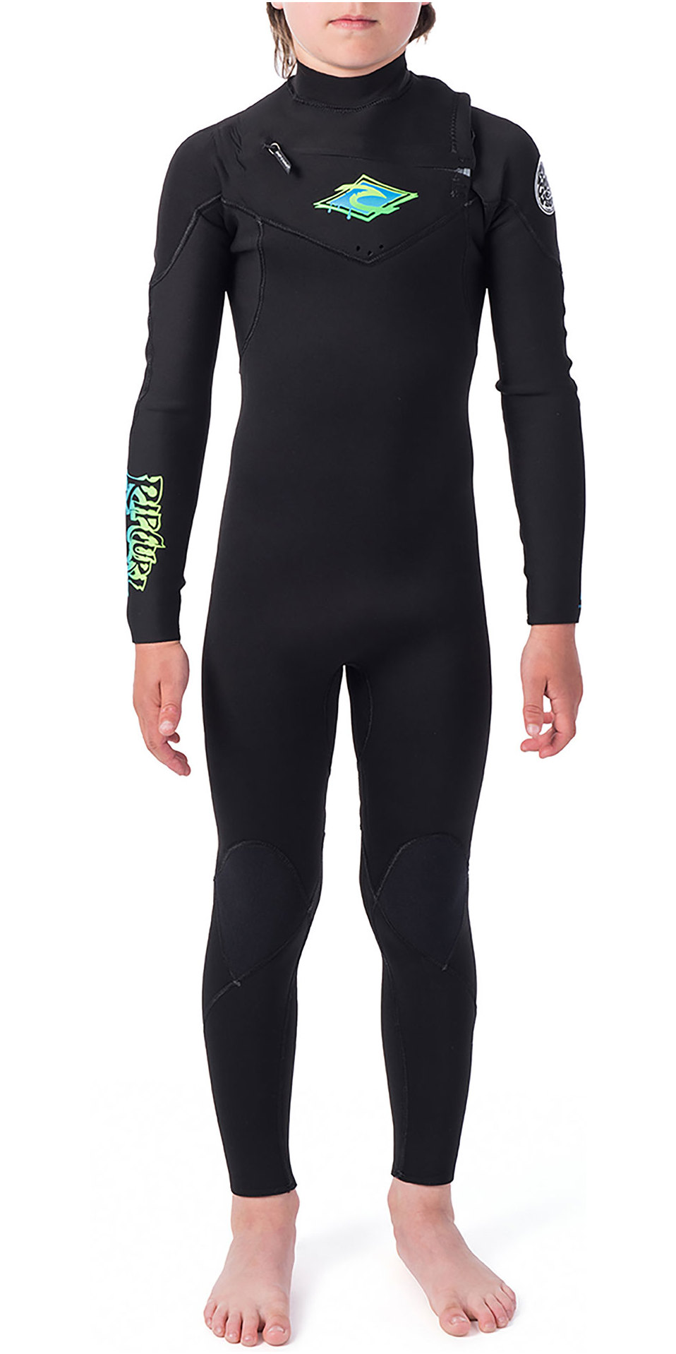 2019 Rip Curl Junior Dawn Patrol 5/3mm Chest Zip Wetsuit Black / Green WSM9PB