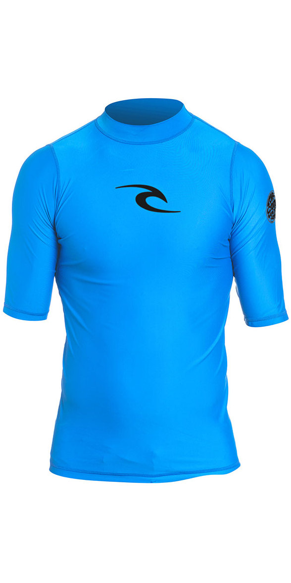 2019 Rip Curl Junior Boys Corpo S / S UV Tee Rash Vest Blue WLY5DB