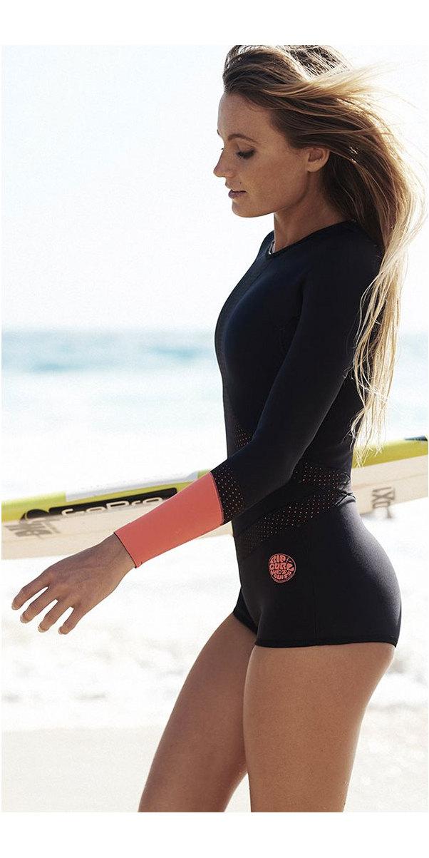 2018 Rip Curl Womens Long Sleeve BoyLeg UV Surf Lycra Suit Black   Red  WLY6KW ... 9ab501e1a1
