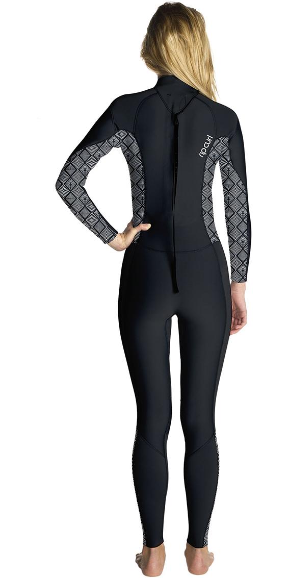 2019 Rip Curl Womens Dawn Patrol 4/3mm GBS Back Zip Wetsuit BLACK / WHITE WSM8FS