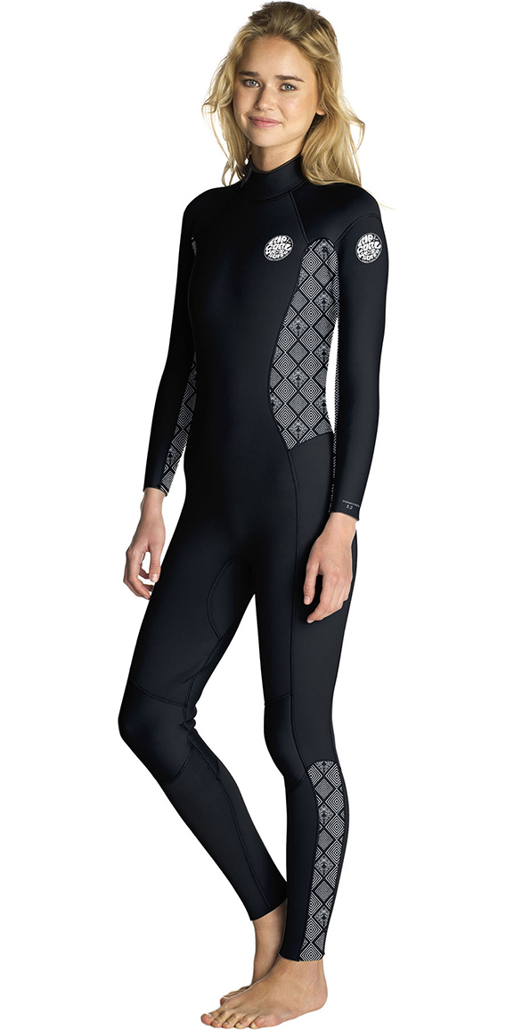 2019 Rip Curl Womens Dawn Patrol 5/3mm GBS Back Zip Wetsuit BLACK / WHITE WSM8ES