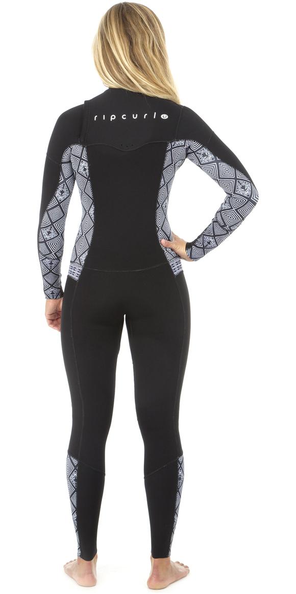 18149af10d 2019 Rip Curl Womens Dawn Patrol 3 2mm GBS Chest Zip Wetsuit BLACK   WHITE  ...
