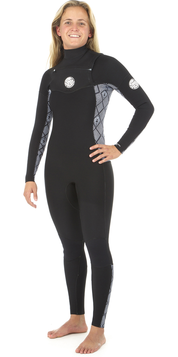 2019 Rip Curl Womens Dawn Patrol 5/3mm GBS Chest Zip Wetsuit BLACK / WHITE WSM8IS
