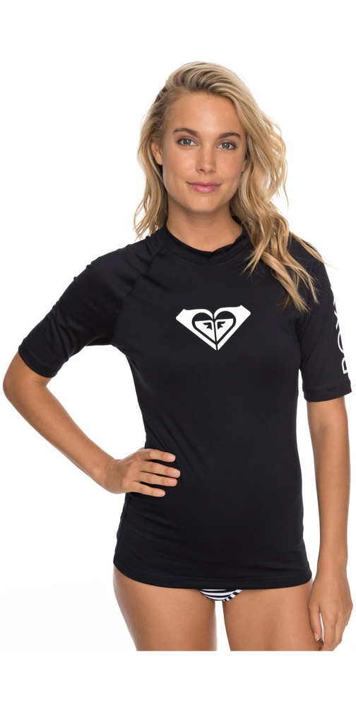 2019 Roxy Womens Wholehearted Short Sleeve Rash Vest ANTHRACITE ERJWR03219