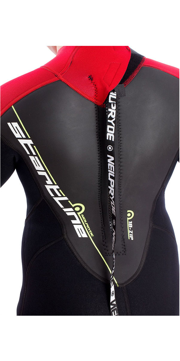 2018 Neil Pryde Junior 3mm Startline Short Sleeve Back Zip Flatlock Wetsuit Black / Red SAB701