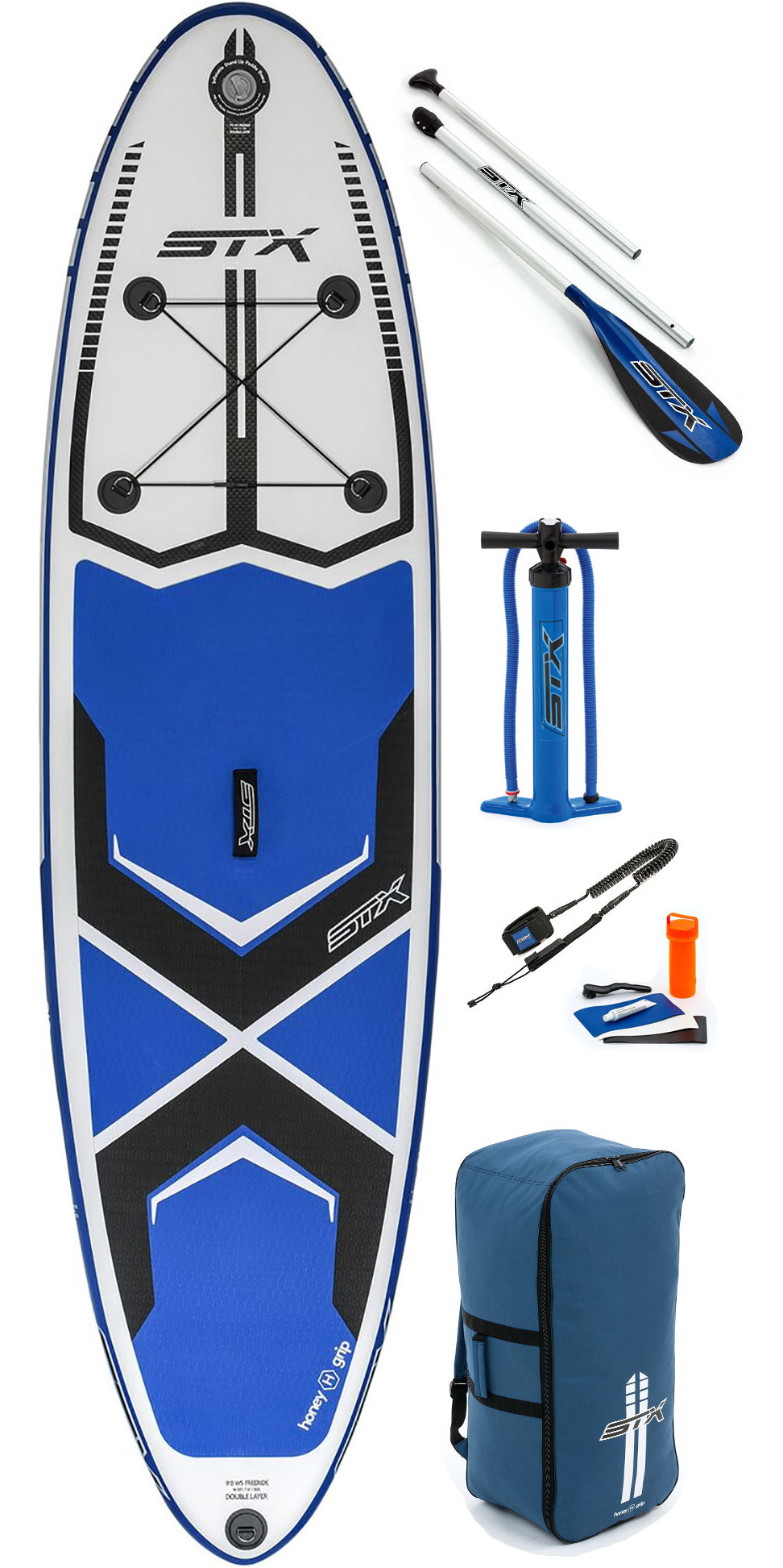 STX Glass 3-Piece Travel SUP Stand Up Paddle Boarding Paddle Blue Glass construction 3 Piece travel paddle