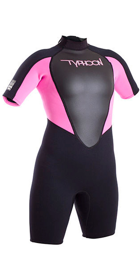 2018 Typhoon Junior Girls Storm 3/2mm Shorty Wetsuit Black / Iris 250952