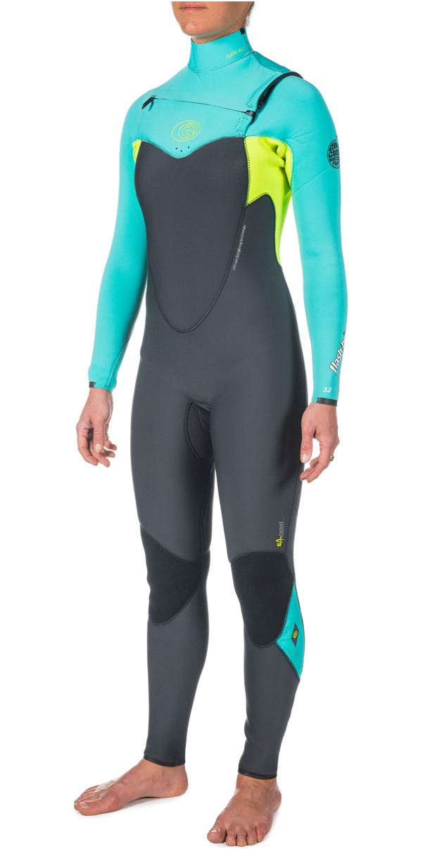 Rip Curl Womens 5 3mm Flashbomb CHEST ZIP Wetsuit in Turquoise WSM4GG 10c0f09722