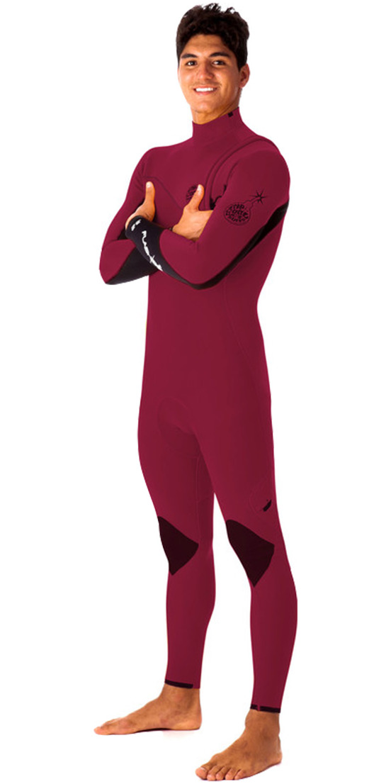 Rip Curl Flashbomb 3/2mm ZIP FREE Wetsuit in Burgundy WSM4RF