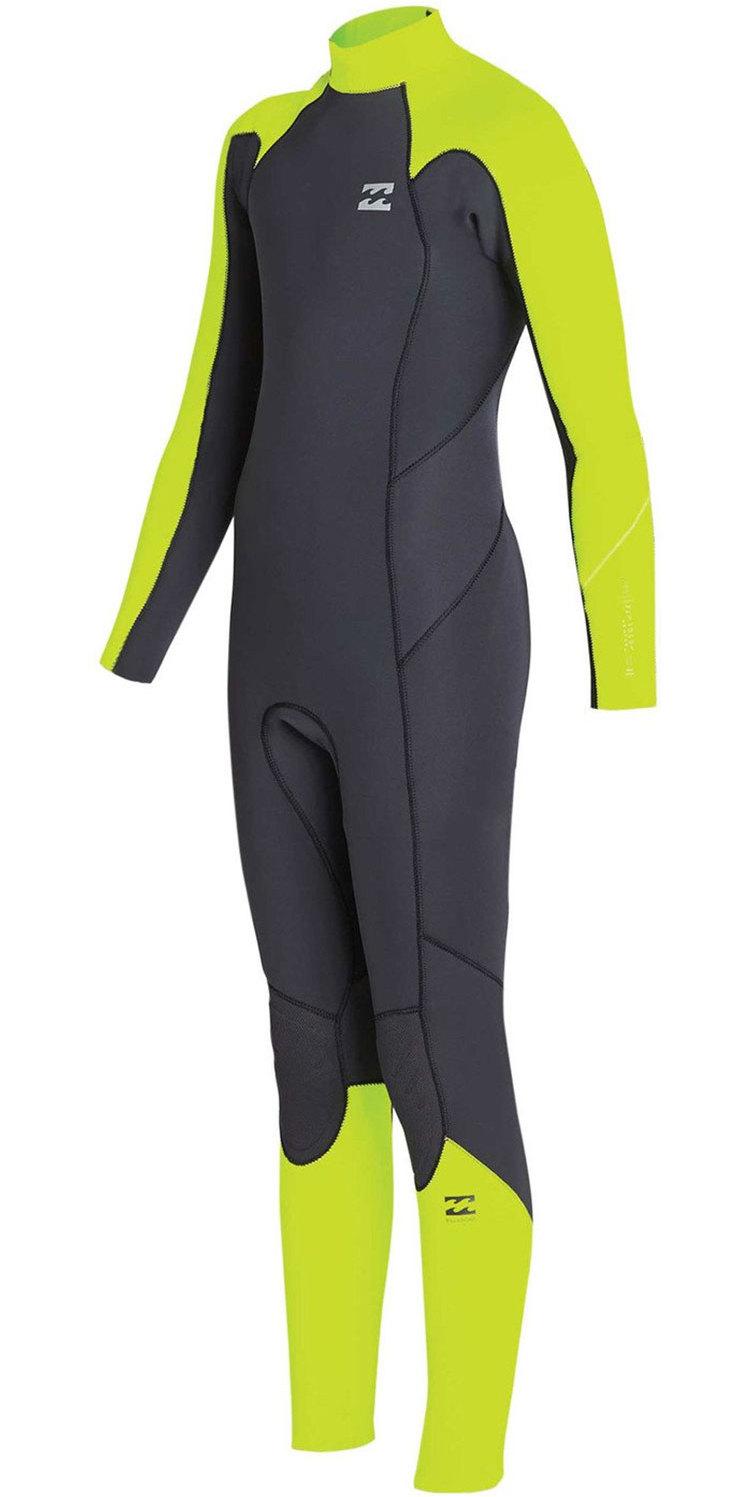 2019 Billabong Junior Boys Furnace Absolute 4/3mm Back Zip Wetsuit Neon Yellow N44B02