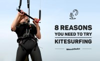 Kitesurfing instructor and student