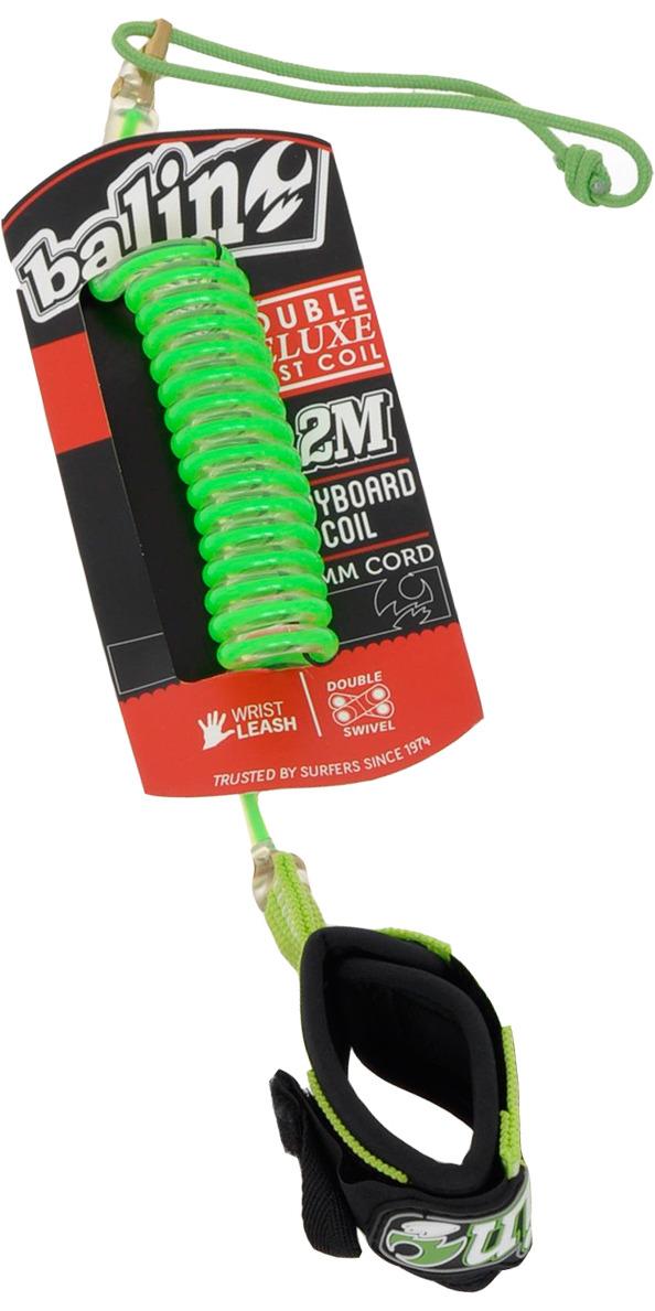 2019 Balin Deluxe Double Swivel Coil 1.2M Bodyboard Wrist Leash Green