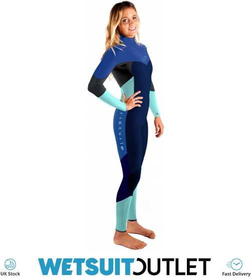Rip Curl Womannens Flashbom 3 2mm Chest Zip Wetsuit NAVY Easy Stretch Sleeve GBS