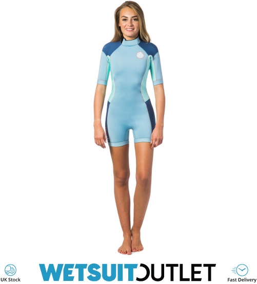 7153009667 Rip Curl Dawn Patrol 2mm Back Zip Spring Shorty Wetsuit Blue Ice Wsp4fw -  Womens - Shorty