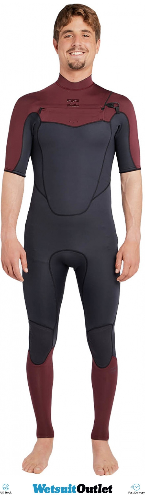 36cc27f6e4 2018 Billabong Absolute 2mm Chest Zip Short Sleeve Wetsuit Biking Red  H42m25 - Wetsuits