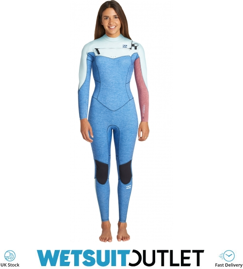 2019 Billabong Frauen Furnace Synergie 4 3mm Chest Zip Neoprenananzug blau Meliert