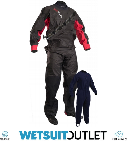 Gul Womens Dartmouth Eclip Zip Drysuit Dry Suit in Blue Includes Underfleece 3 Layer Dry Suit 3 Layer Waterproof Fabric