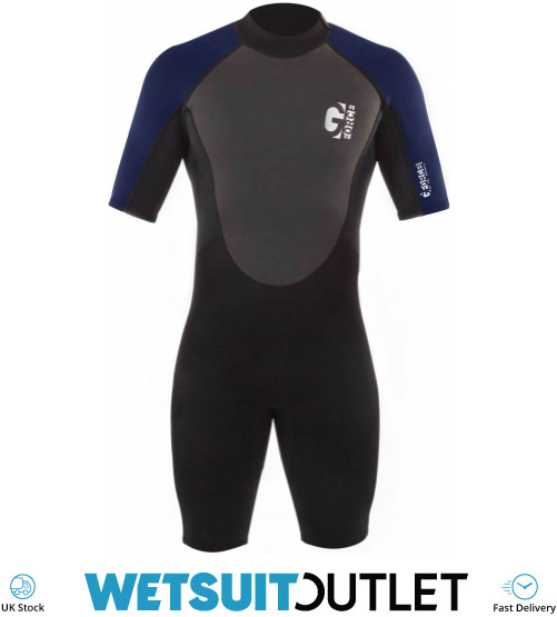 Gul G-Force 3mm Mens Shorty Wetsuit Black Navy Easy Stretch Sleeve Sleeves