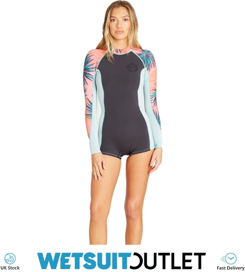 2019 Billabong Womens Spring Fever 2mm Ls Spring Wetsuit Coral Bay N42g02 -  Womens - Shorty  406d92c26