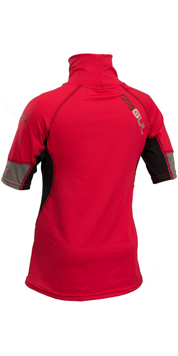 2019 GUL Junior Short Sleeve Rash Vest Red / Black RG0341-B4