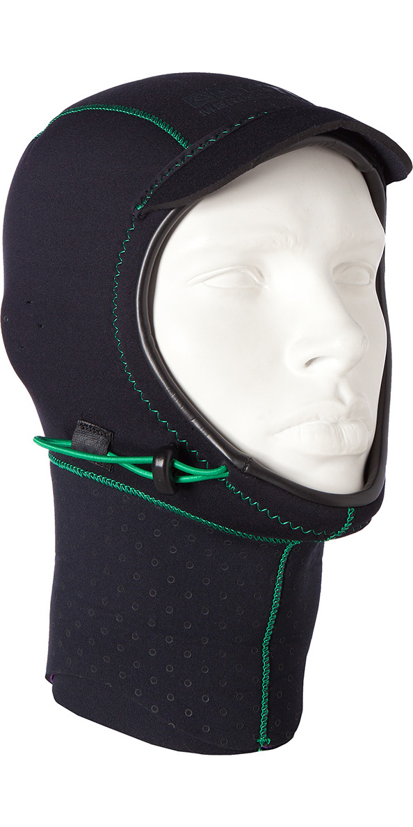 2018 Mystic Merino Wool 1.5mm GBS Neoprene Hood Black / Green 170115