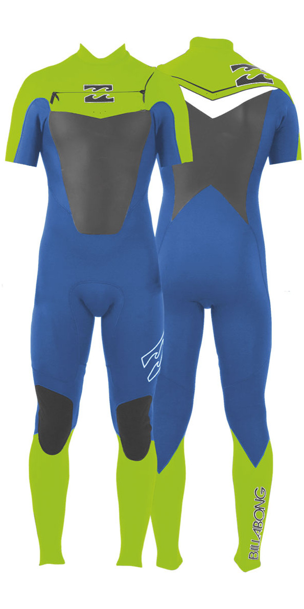2014 Billabong Foil 2mm S S Chest Zip Gbs Wetsuit Blue Lime White ... fa5cdefd4