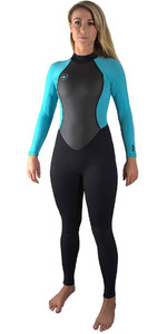 O'Neill Womens Reactor II 3/2mm Back Zip Wetsuit BLACK / AQUA 5042