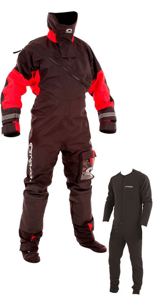 2018 Typhoon Max B Front Zip Drysuit Black / Red Including Underfleece 100153
