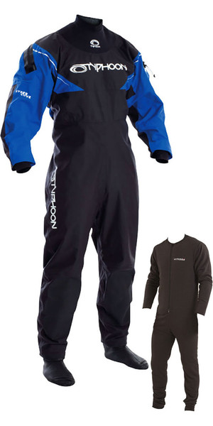 2019 Typhoon Hypercurve 3 Back Zip Drysuit with Socks Black / Blue Including Underfleece 100155