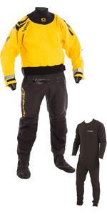 2019 Typhoon Multisport 5 Hinge Drysuit Including Con Zip & Underfleece BLACK / YELLOW 100165