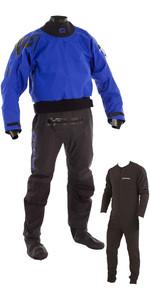 2019 Typhoon Multisport 5 Drysuit Latex Seal Fabric Socks + Con Zip Inc Underfleece BLUE / BLACK 100166