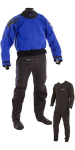 2020 Typhoon Multisport 5 Drysuit Latex Seal Fabric Socks + Con Zip Inc Underfleece BLUE / BLACK 100166