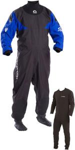 2019 Typhoon Hypercurve 4 Back Zip Drysuit & Underfleece Black / Blue 100169