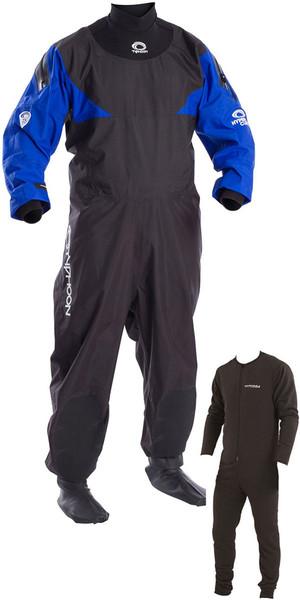 2019 Typhoon Hypercurve 4 Back Zip Drysuit with Socks & Underfleece Black / Blue 100169
