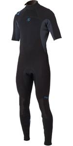 2020 Magic Marine Mens Brand 3/2mm Short Arm Back Zip Wetsuit Black / Blue 160015