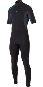 2020 Magic Marine Junior Brand 3/2mm Short Arm Back Zip Wetsuit Black / Blue 160020