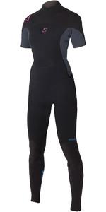 2020 Magic Marine Womens Brand 3/2mm Short Arm Back Zip Wetsuit Black / Pink 160210