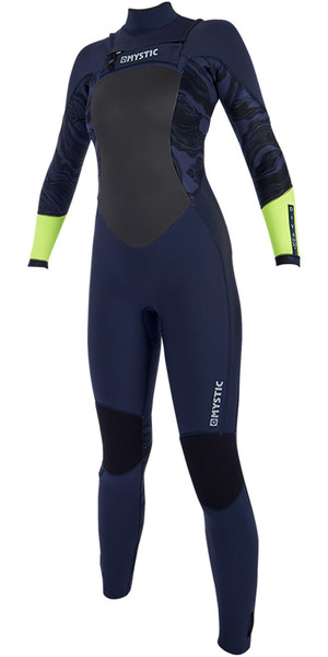 2019 Mystic Diva Womens 5/3mm GBS Chest Zip Wetsuit Navy / Lime 190012