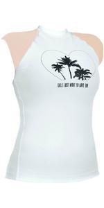 Billabong Junior Girls Love Sun Cap Sleeved Rash Vest White / Pastel Pink S4KY10