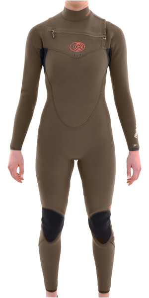 Rip Curl Womens 4/3mm Flashbomb Chest Zip Wetsuit FATIGUE WSM4fG