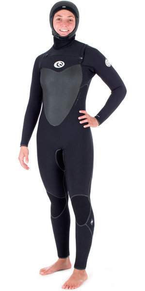 Rip Curl Ladies Hooded Flashbomb 5/4mm Chest Zip Wetsuit BLACK WSM6DG