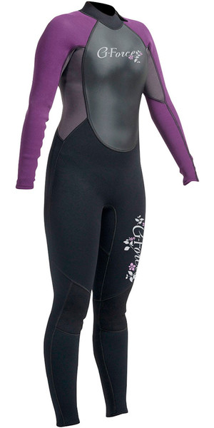 2018 Gul G-Force 3mm Ladies Back Zip Steamer Wetsuit Black / Mulberry GF1306-A9