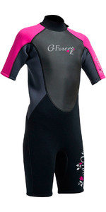 2019 Gul G-Force Junior Shorty 3/2mm Wetsuit in Black / Pink GF3308-A9