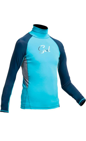 2018 Gul Junior Girls Long Sleeve Rash Vest in Turquoise / Navy RG0346-A9