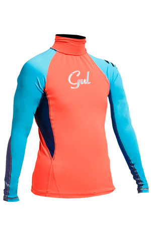 2018 Gul Junior Girls Long Sleeve Rash Vest in Coral / Turquoise RG0346-A9