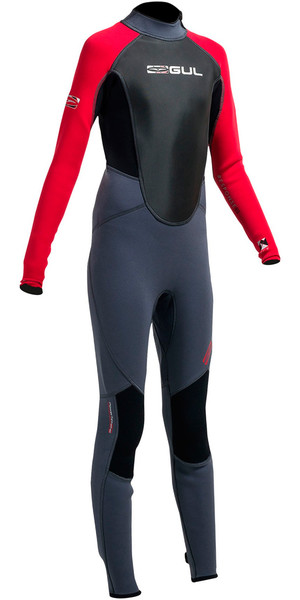 Gul Response 3/2mm Junior Flatlock Wetsuit Graphite / Red RE1322-A9 - 2ND