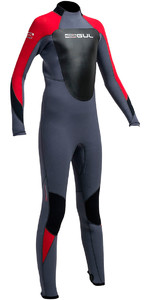 2020 Gul Junior Response 5/3mm Back Zip Wetsuit Graphite / Red RE1218-B1