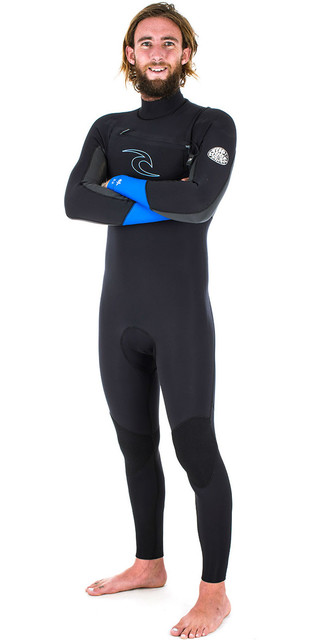 Rip Curl Dawn Patrol 5/3mm Chest Zip Wetsuit Blue Wsm6gm Picture