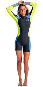 Rip Curl Dawn Patrol Womens 2mm Back Zip Long Sleeve Spring Shorty Wetsuit Blue WSP4GW